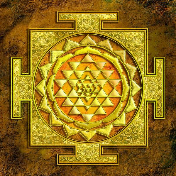 Sacred Mixed Media - Sri Yantra Gold Stone by Lila Shravani