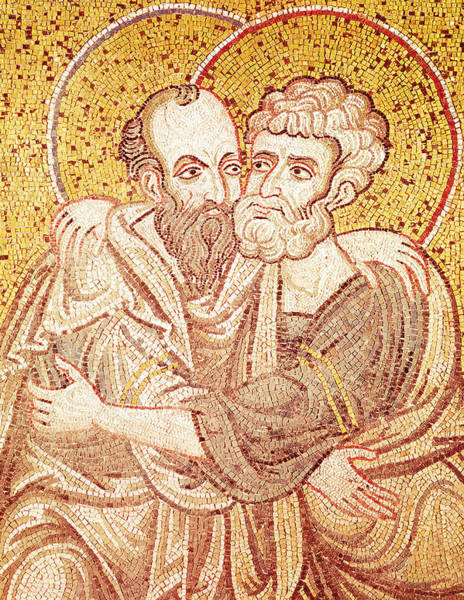 Disciple Wall Art - Tapestry - Textile - Saints Peter And Paul Embracing by Byzantine School