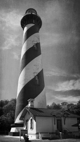 Photograph - St Augustine Lighthouse Bw by Joan Carroll