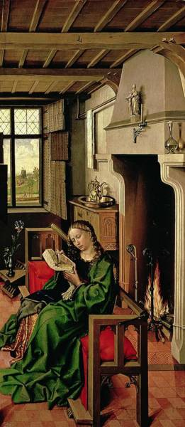 Psalms Photograph - St. Barbara From The Right Wing Of The Werl Altarpiece, 1438 Oil On Panel See Also 68547 by Master of Flemalle