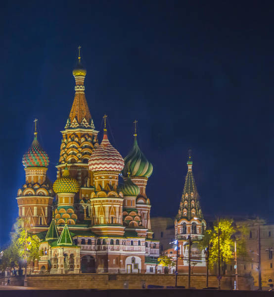 Blye Photograph - St. Basil's Cathedral At Night by Kenneth Blye