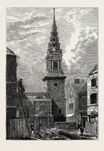 Wall Art - Drawing - St. Brides Church Fleet Street 1824 London by English School