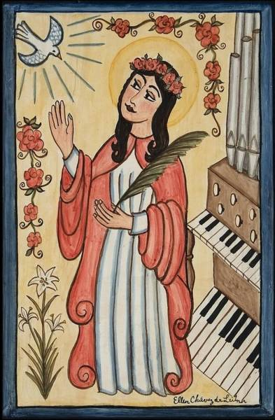 Pipe Organ Wall Art - Painting - St. Cecilia With Organ And Dove by Ellen Chavez de Leitner