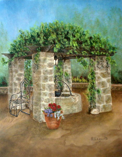 Wishing Well Painting - St. Clement's Castle by Pamela Allegretto