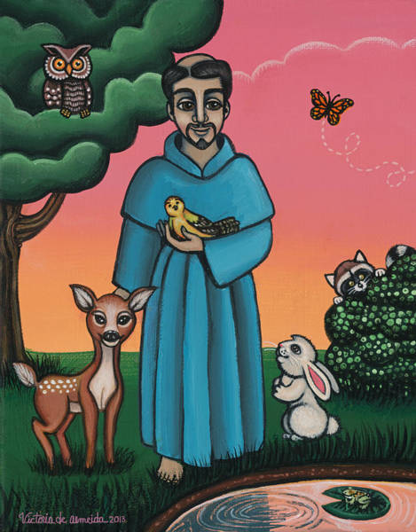 Painting - St. Francis Animal Saint by Victoria De Almeida