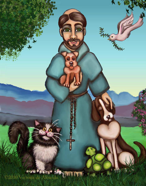 Society Wall Art - Painting - St. Francis Libertys Blessing by Victoria De Almeida