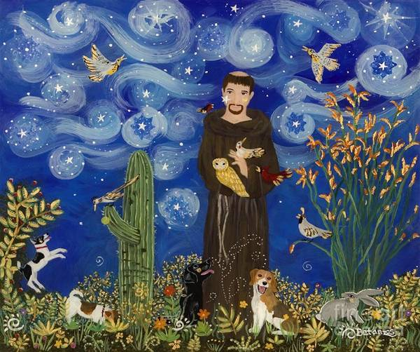 T-shirts Painting - St. Francis Starry Night by Sue Betanzos