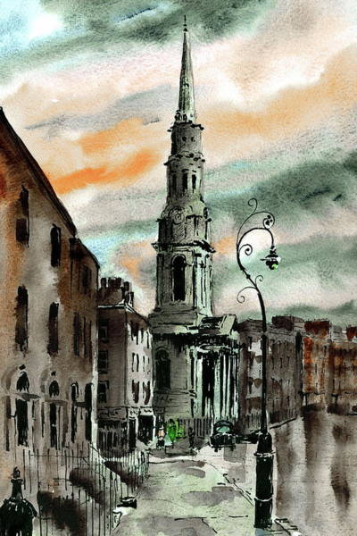 Painting - St Georges From Eccles St by Val Byrne