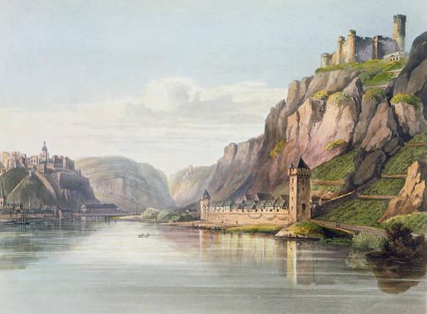 Rhine River Wall Art - Drawing - St. Goarshausen, St. Goar by Christian Georg II Schutz or Schuz