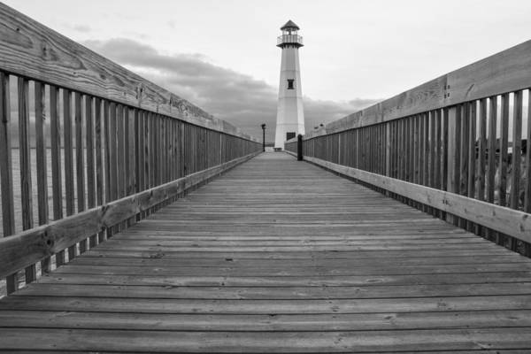 St Ignace Wall Art - Photograph - St Ignace Lighthouse And Boardwalk by John McGraw
