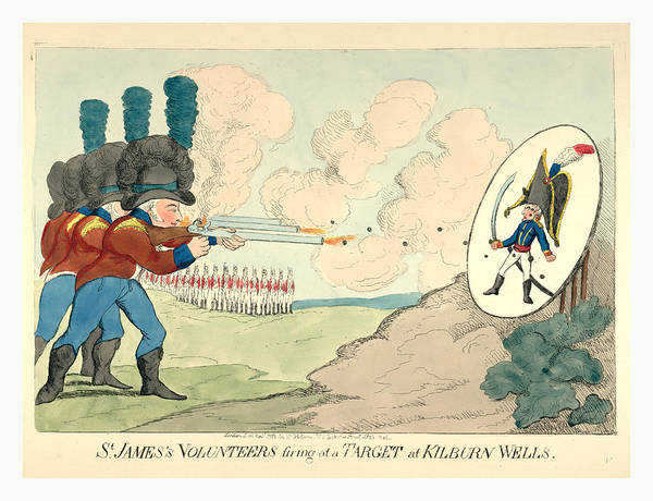 Target Drawing - St. Jamess Volunteers Firing At A Target At Kilburn Wells by Litz Collection