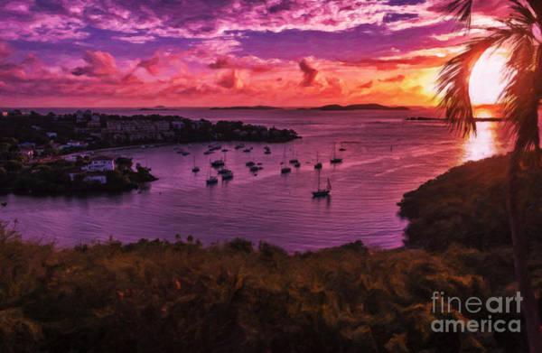 Us Virgin Islands Painting - St John Sunset by Sheldon Kralstein