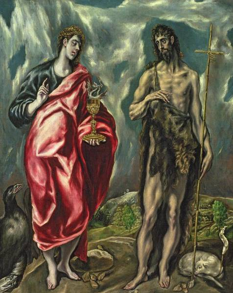 Wall Art - Painting - St John The Evangelist And St John The Baptist by El Greco Domenico Theotocopuli