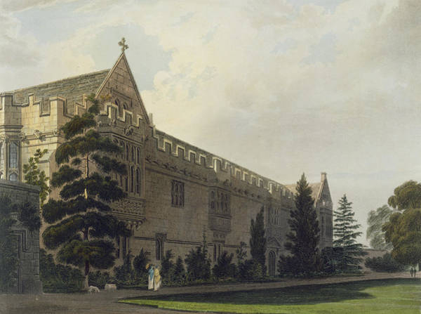 Print Drawing - St Johns College Seen From The Garden by Frederick Mackenzie
