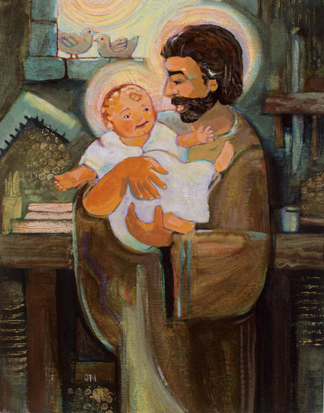 Wall Art - Painting - St. Joseph And Baby Jesus by Jen Norton