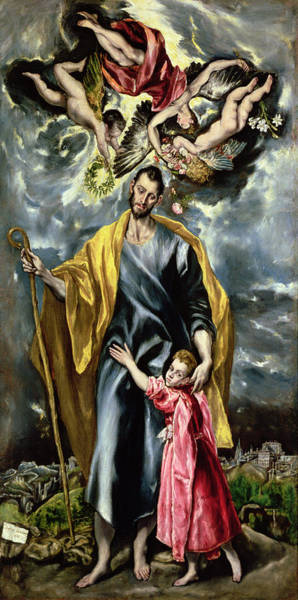 Father Sky Wall Art - Painting - Saint Joseph And The Christ Child by El Greco