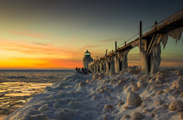 Wall Art - Photograph - St Joseph Lighthouse At Sunset by Jackie Novak
