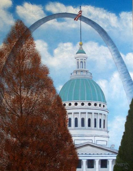 St Louis Arch Painting - St. Louis Arch By Day by John Marcum