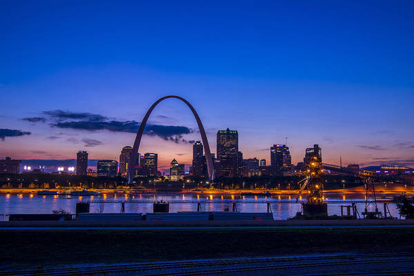 Photograph - St. Louis Missouri Night Skyline Blue Hour by David Haskett II