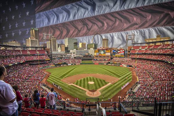 Photograph - St. Louis Cardinals Busch Stadium National Anthem Flag by David Haskett II