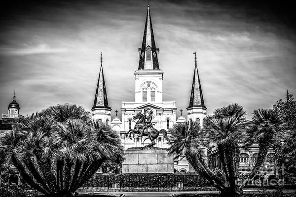 Steeple Wall Art - Photograph - St. Louis Cathedral In New Orleans Black And White Picture by Paul Velgos