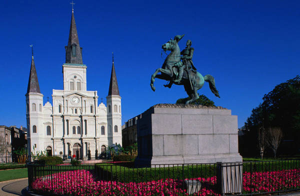 Louisiana Photograph - St Louis Cathedral With Statue Of by John Elk