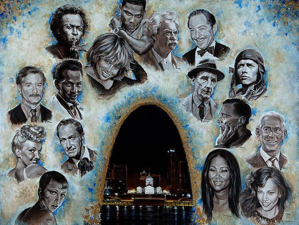 St Louis Arch Painting - St Louis Celebrities by Evelyn Astegno