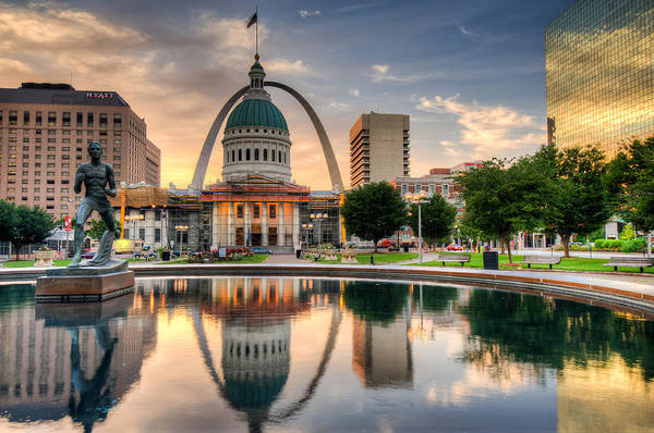 Photograph - St. Louis Skyline Morning Reflections by Gregory Ballos
