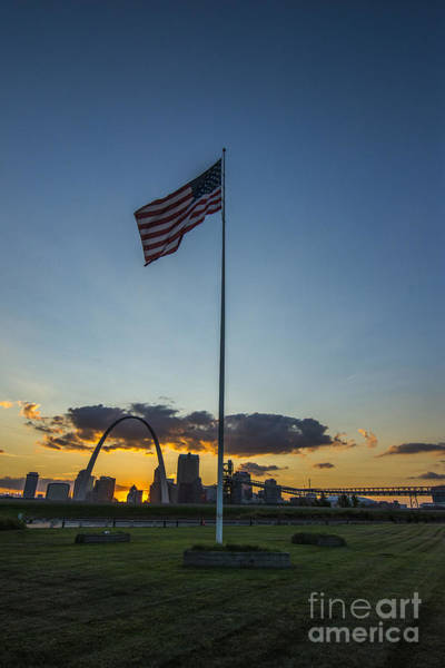 Photograph - St. Louis Skyline American Flag Sunset by David Haskett II