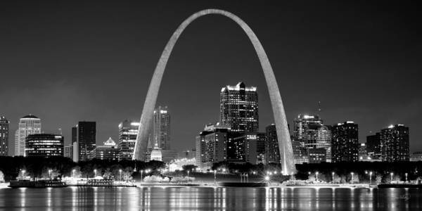 Mississippi River Photograph - St. Louis Skyline At Night Gateway Arch Black And White Bw Panorama Missouri by Jon Holiday