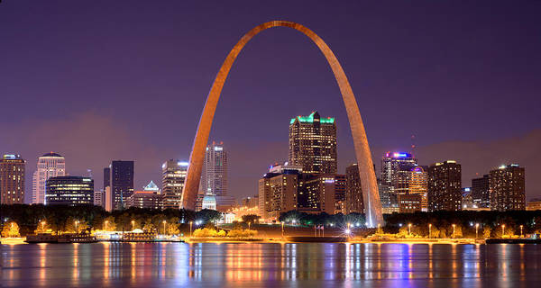 Wall Art - Photograph - St. Louis Skyline At Night Gateway Arch Color Panorama Missouri by Jon Holiday