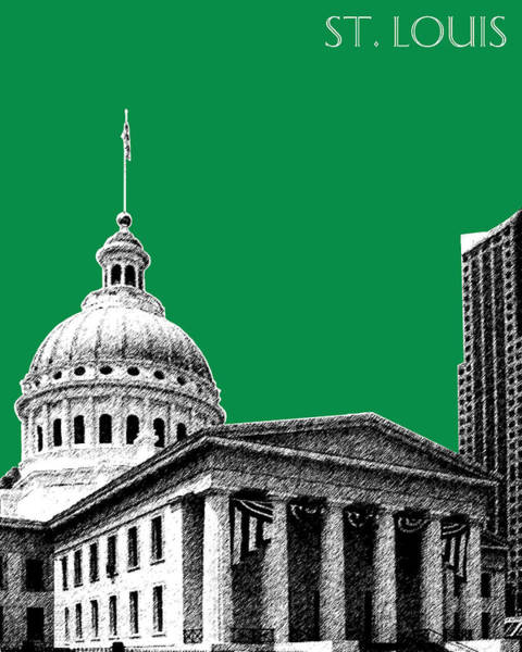 Courthouse Towers Wall Art - Digital Art - St Louis Skyline Old Courthouse - Forest by DB Artist