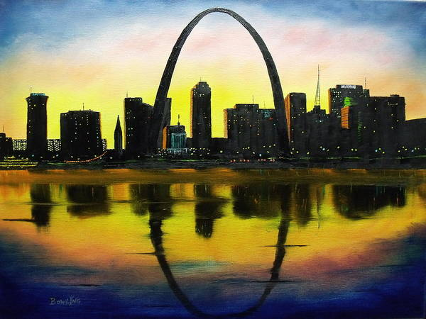 Gateway Arch Painting - St. Louis Sunset by Don Bowling