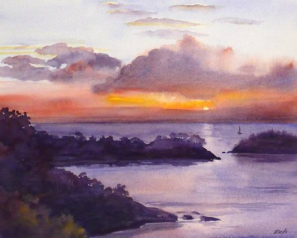 Painting - St. Lucia Caribbean Sunset Seascape by Janet Zeh