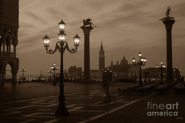 Photograph - St. Mark's Square At Sunrise In Sepia by Prints of Italy
