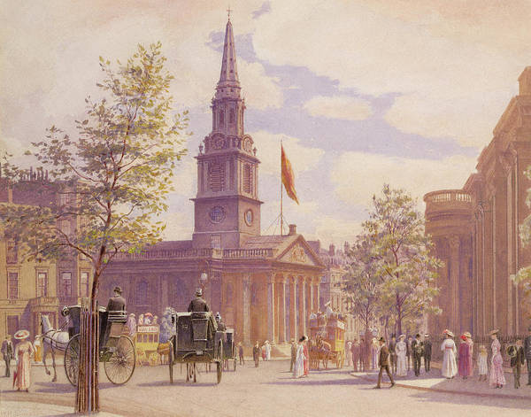 Carriages Painting - St. Martin's In The Fields London by WH Simpson