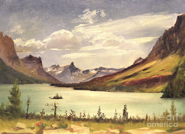 Painting - St. Marys Lake- Glacier Park 1935 by Art By Tolpo Collection