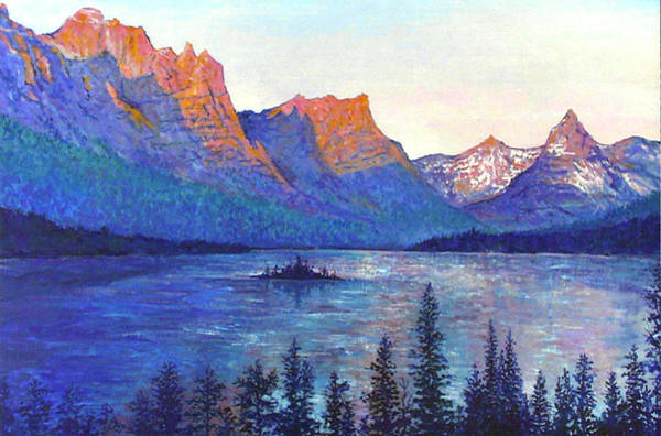 Wall Art - Painting - St. Mary's Lake Montana by Lou Ann Bagnall