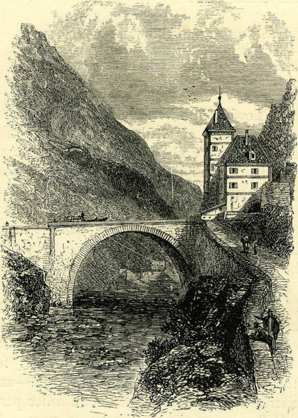 Wall Art - Drawing - St. Maurice Switzerland Engraving 19 C by Swiss School