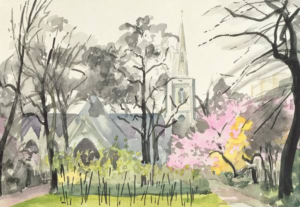 Steeple Wall Art - Photograph - St. Michaels Church, Chester Square, London, 1982 Wc On Paper by Izabella Godlewska de Aranda