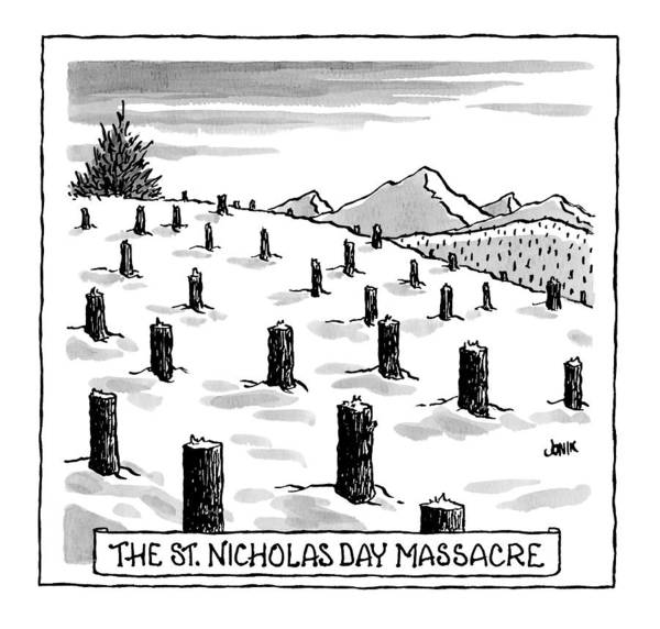 Christmas Drawing - 'st. Nicholas Day Massacre' by John Jonik