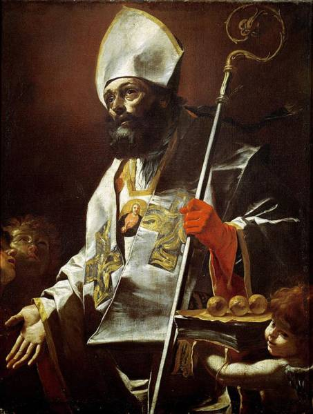 Bishop Photograph - St. Nicholas Of Bari D.c.346 Oil On Canvas by Mattia Preti