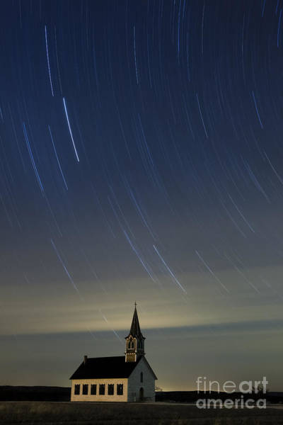 Star Trails Photograph - St. Olaf Lutheran Rock Church by Keith Kapple