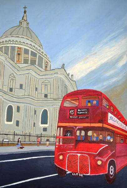 Wall Art - Painting - St. Paul Cathedral And London Bus by Magdalena Frohnsdorff