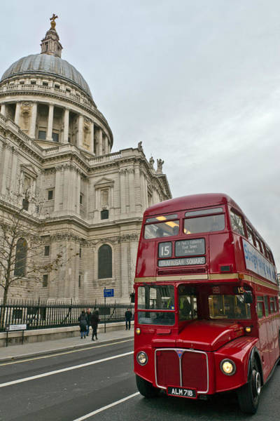 Photograph - St Paul's And Red London Bus by Gary Eason