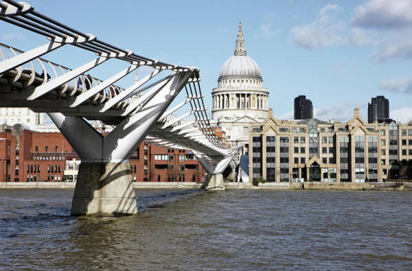 Millennium Photograph - St Pauls Cathedral And Millennium Bridge by Richard Newstead