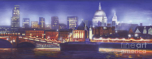 Illuminated Digital Art - St Paul's Landscape River by MGL Meiklejohn Graphics Licensing