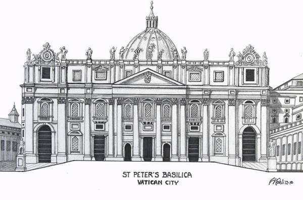 Wall Art - Drawing - St Peter's Basilica by Frederic Kohli