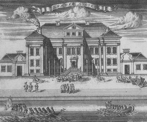 Petersburg Photograph - St. Petersburg. View Of The Winter Palace Of Peter I, 1716 Etching by Alexei Fyodorovich Zubov