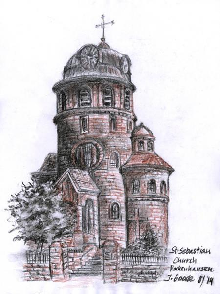 Holy Ghost Drawing - St. Sebastian Church by Jana Goode